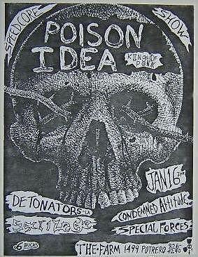 Poision Idea Sacrilege Farm Concert poster Punk Flyer