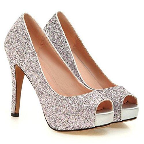 Peep Mode COOLCEPT Chaussures Talons Enfiler Chaussures A Basse Femme Aiguille Rose Toe Escarpins 5qfUOqxzrw