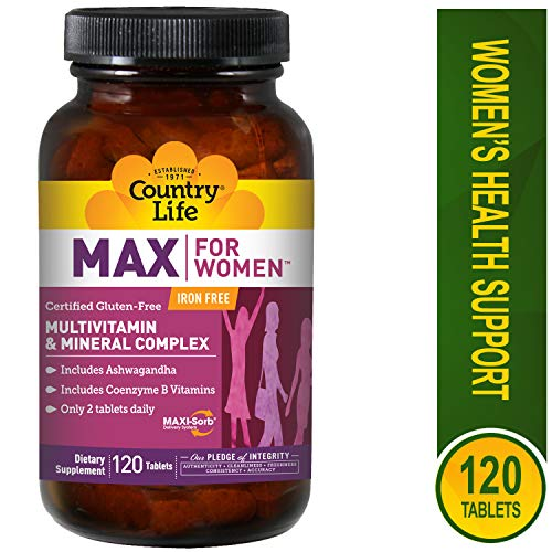Country Life Max for Women - Multivitamin and Mineral Complex, Iron-free - 120 Tablets (Iron Free Tabs 120)