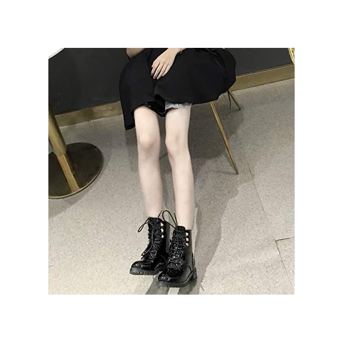 Shukun Stivaletti Martin Boots Women's High Pu Autumn And Winter Patent Leather With Thick Flat Lace Shoes
