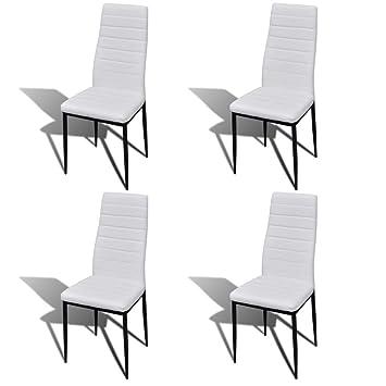 vidaXL 4X Sillas de Salón Comedor Modernas Slim Line Cuero Artificial Blancas