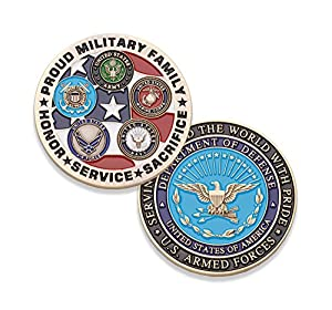 Proud Military Family Challenge Coin - All Services Military Coin - Marines - Army - Air Force - Navy - Coast Guard - Designed by Military Veterans from Coins For Anything Inc