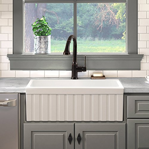 "MAYKKE Victoria 30"" Fluted Fireclay Farmhouse Kitchen Sink 