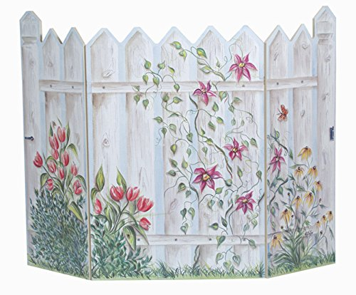 Stupell Home Décor Floral Picket Fence 3-Panel Decorative Fireplace Screen, 45 x 0.5 x 31, Proudly Made in (Picket Fence Wall Decor)