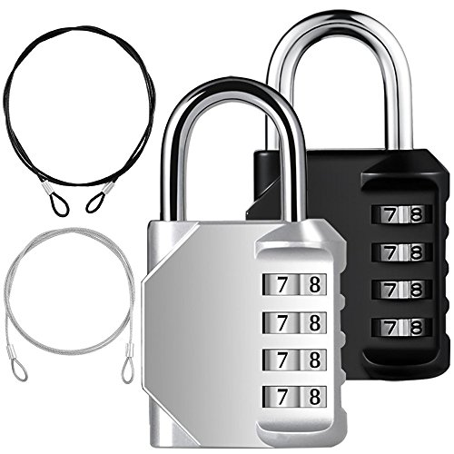 YuCool 2 Pack Combination Padlock, 4 Digit Lock Codes+ 2 Stainless Steel Security Tether for Protect your Storage - Pack of 4 ( Black, Silver - Rope Combination