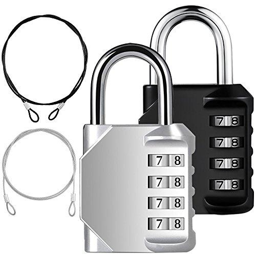 Candado combinado YuCool de 2 paquetes, códigos de bloqueo de 4 dígitos + 2 ataduras de seguridad de acero inoxidable para...