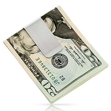 Geldscheinklammer Geldclip dreiseitig rechteckigen Geldscheinklammer Kartenhalter(Silber)
