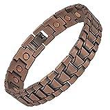 SIX21 Golf Bracelets for Men - Brushed Link Magnetic Copper Bracelet for Arthritis Relief - Pure Copper, 17 Magnets, Adjustable (Tank)
