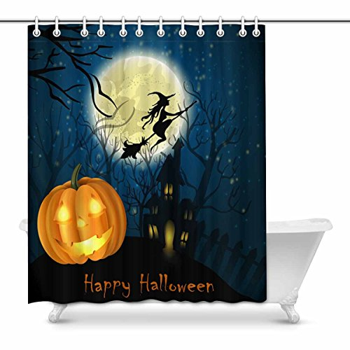 INTERESTPRINT Clip Art for Halloween Celebration Country Decorations for Bathroom Print Polyester Fabric Shower Curtain 60 x 72 Inches -