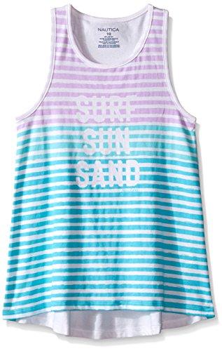 Nautica Little Girls' Trapeze Stripe Graphic Tank, Light Turquoise, 6