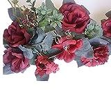 30'' Crinkle Rose Swag Artificial Silk Wedding Bridal Bouquet Craft Flowers Home Decor (Burgundy)