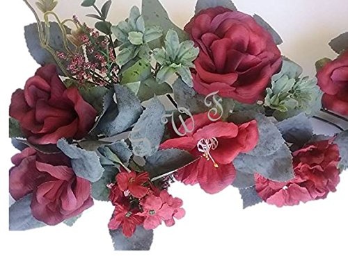 30'' Crinkle Rose Swag Artificial Silk Wedding Bridal Bouquet Craft Flowers Home Decor (Burgundy) by Wedding Flowers
