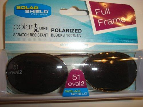 Solar Shield 51 oval 2 Full Frame Polarized Clip On - Be Polarized Can Sunglasses