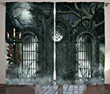 Ambesonne Horror House Decor Curtains, Moon Halloween Ancient Historical Gate Gothic Background Candles Fiction View, Living Room Bedroom Window Drapes 2 Panel Set, 108W X 96L Inches, Hunter Green