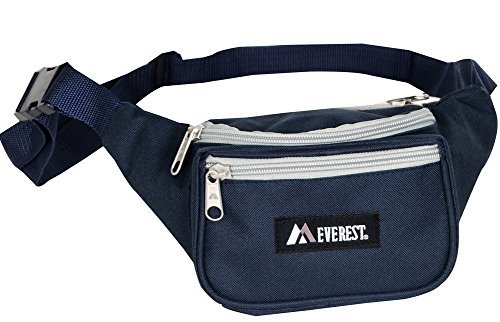Everest Regular Size Fanny Pack. NAVY AND GREY