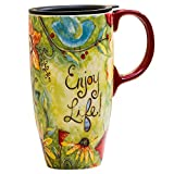 CEDAR HOME Travel Coffee Ceramic Mug Porcelain Latte Tea Cup With Lid 17oz. Enjoy Life