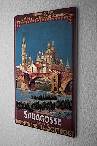 Tin Sign World Trip Zaragoza Spain Decorative Wall Plate 8X12'' by leotie fashion&lifestyle