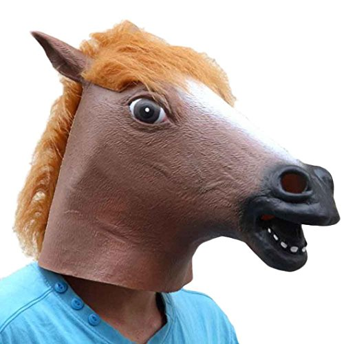 [EKIMI Mask Halloween Party Horse Latex Mask (Brown)] (Easy Male Villain Costumes)