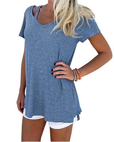Mujeres Blusa Camiseta Sueltan Tops Ocasional V-Cuello Blusas Manga Corta Camisetas Denim Azul