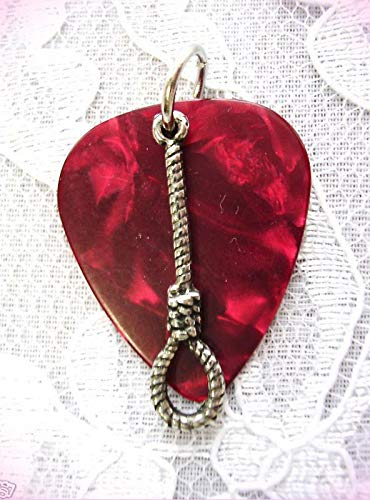 Deep Red Guitar Pick & Hang Em High Wild West Rope Noose Pendant