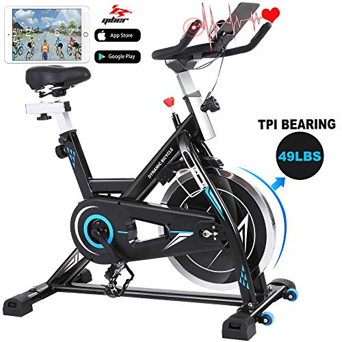 FUNMILY Indoor Cycling Bike – Stationary Exercise Bikes with LCD Monitor & Comfortable Adjustable Seat Cushion for Home…