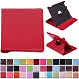 HDE iPad 2 iPad 3 iPad 4 Rotating Case 360 Degree Magnetic Cover Stand for 2nd 3rd 4th Generation iPad (Red Crocodile)