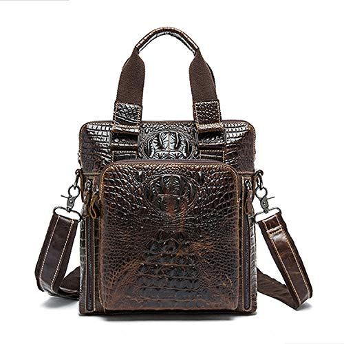 Leather Men Bag Mens Messenger Bags Handbag Casual Shoulder Crossbody Bags Alligator,coffe ()