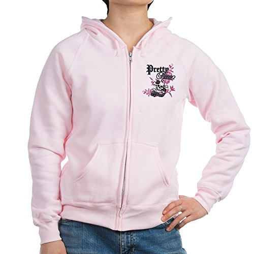 Royal Lion Women's Zip Hoodie Pretty Poison Forever Flowers Skull - Pale Pink, (Forever Womens Zip Hoodie)