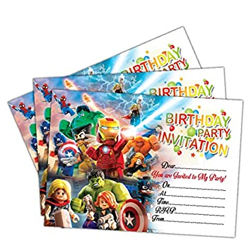 Invitations 20 X Lego Marvel Super Heroes 2 Birthday Party Invites Cards