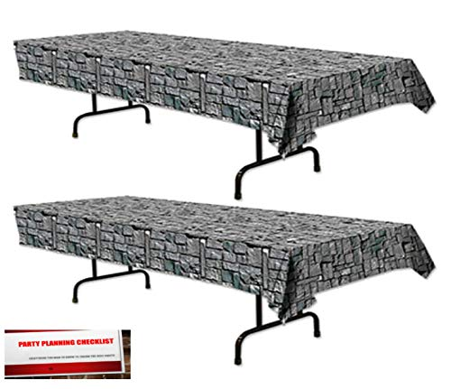 Plastic Table Cover Measures - Stone Castle Wall (2 Pack) Cobble Stone Plastic Table Cover 54 inches x 108 inches (Plus Party Planning Checklist by Mikes Super Store)