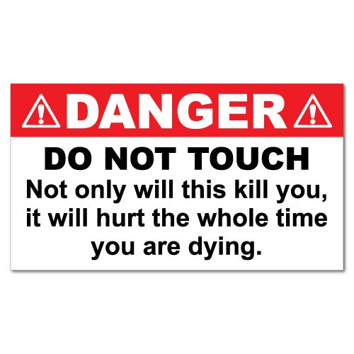 Danger Do Not Touch Animal Sticker Funny Car Stickers Novelty Decals
