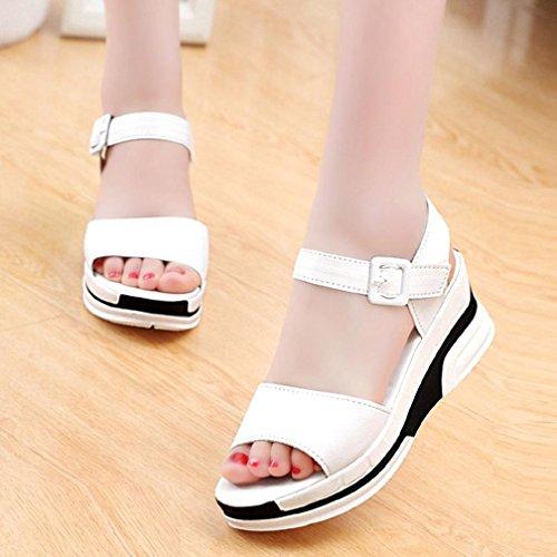 Familizo Blanc Sandales Mode Bascules D'été Dame de Femmes r05qr