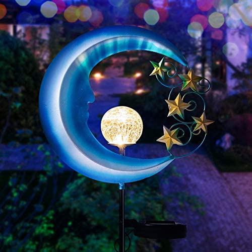 Solar Powered Garden Lights – Outdoor Decorative Moon Light – Metal Waterproof Solar Garden Light for Pathway, Lawn, Patio, Yard