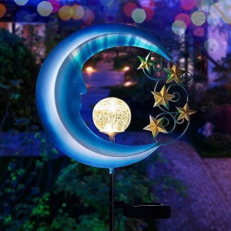Amazon Com Wasakky Solar Powered Garden Lights Outdoor Decorative Moon Light Metal Waterproof Solar Garden Light For Pathway Lawn Patio Yard Home Improvement