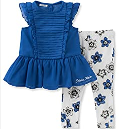 Calvin Klein Baby Girls\' 2 Piece Tunic and Printed Legging Set-Chiffon, Blue, 18M