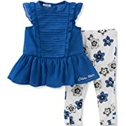 Calvin Klein Baby Girls' 2 Piece Tunic and Printed Legging Set-Chiffon, Blue, 0/3M