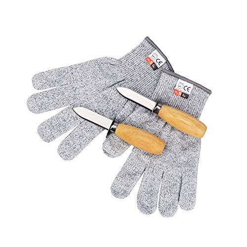 - Oyster Shucking Set-Oyster Shucker Opener Tool Oyster Shucking Knife with Level 5 Protection Food Grade Cut Resistant Gloves(XL)