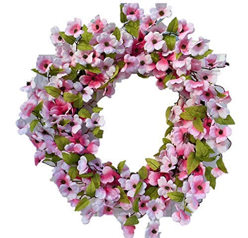 - Stellar Performance Pink Dogwood Wreath Indoor Outdoor 22 Inch Wreath for Front Door Spring and Summer Decoration Use for Valentines Day Easter Mothers Day