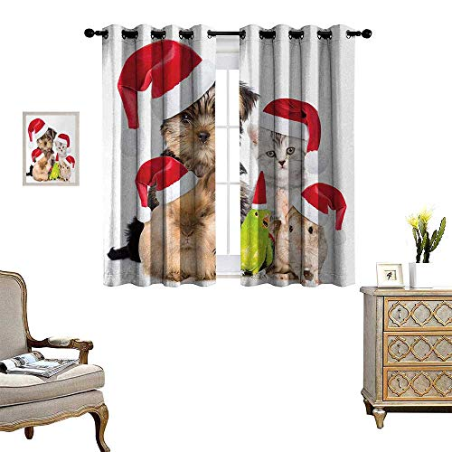 Anyangeight Christmas Window Curtain Drape Xmas Crew Cat Dog Bird Mouse and Rabbit Bunny with Santa Hats Grumpy Pets Picture Decorative Curtains for Living Room W72 x L63 Multi (Pattern Quilt Designs Hill Bunny)
