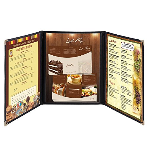 Yescom 30x Menu Cover 8.5X11 6 View Triple Fold Double Stitch Trim Cafe Restaurant Black ()