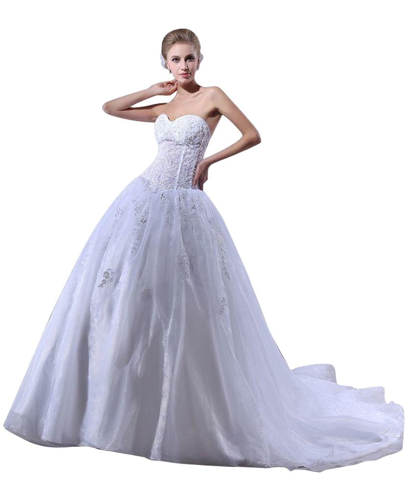 Beauty-Emily Ball Princess Sleeveless Strapless Tulle Organza Sequins Applique Christmas Gifts Night Evening Dresses Color White,Size US20W