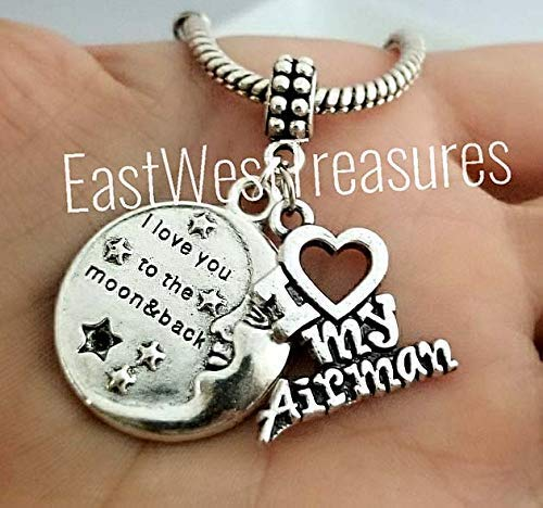 US Air Force Love My Airman to the moon charm pendant-For charm bracelet & chain necklace