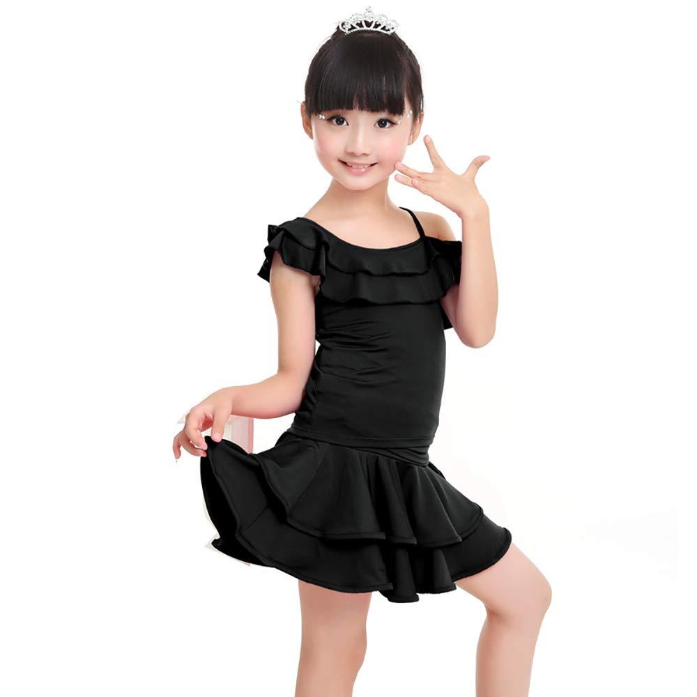 B Jian E& Costume de Danse - Vêtements de Danse pour Enfants Vêtements de Danse Latine Filles Costumes d'été Vêtements d'exercice Slings Ruffle Perforhommece Costume Jupe Set - Rose + Bleu + Noir XL