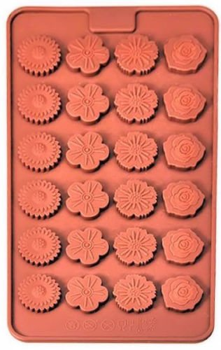 Candy Molds and Ice Cube Trays Reusable Non-stick Flowers Contains Small 24 Cavity with 4 Designs Silicone Mold Christmas for Fondant Gum Paste Chocolate Crafts (2nd Grade Halloween Crafts)