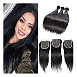 Etino Best Quality Mix Length 8-30 inches 100% Virgin Brazilian Natural Straight Human Hair Weave Extension Unprocessed 3 Bundles Natural Color (16 18 20)
