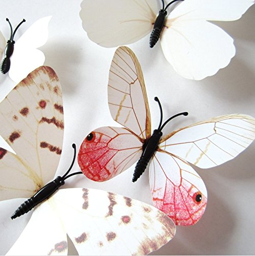 Cute Product 24Pcs Beautiful 3d Butterfly Wall Decals Removable Diy Home Decorations Art Decor Wall Stickers & Murals for Babys Bedroom Tv Background Living Room (New White)