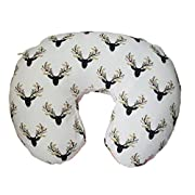 Breastfeeding Pillow Cover by Danha-Newborn Baby Feeding Pillow Cover -Cute Donut Shape Wedge Pillow -Best Infant Support-for New Moms-Deer Head Pillow Cover-Breathable Soft Pink Minky Fabric