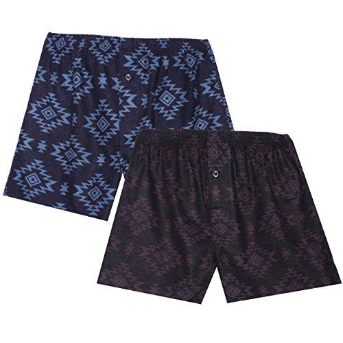 Men's 100% Cotton Flannel Boxers 2-Pack - Aztec Black/Navy - X-Large