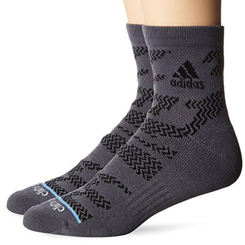 adidas Mens High Quarter Socks (2-Pack), Onix Grey Tiger Print/Black/Collegiate Light Blue, Large