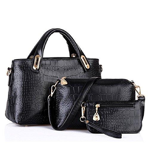 Mujer Sintética Piel Hombro De Candado Nueva Moda Bolso Bolsa Negro Fashionbag naqxFUIH